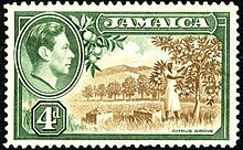 A 1938 4d stamp of Jamaica. Jamaica was the first British colony to establish a post office.