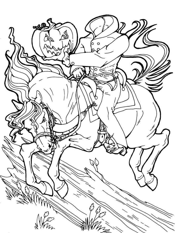 headless horseman halloween coloring page get more halloween downloadable coloring pages for free
