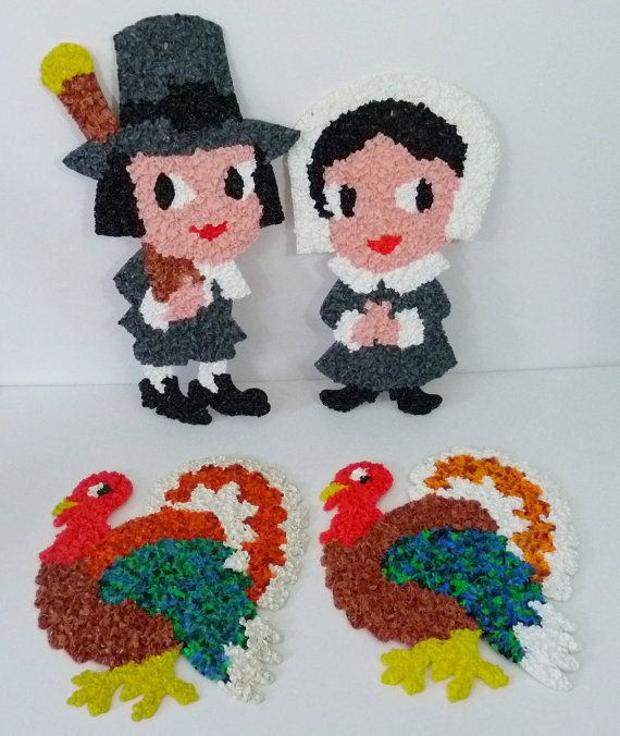 4 Vintage Thanksgiving Melted Plastic Popcorn Decorations-Pilgrim/Turkey--FREE SHIPPING