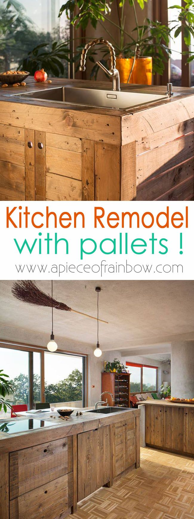A stunning kitchen remodel created with pallets! Take a tour and check out 5 detailed tips and ideas on how to work with pallets in a kitchen remodel!  - A Piece Of Rainbow