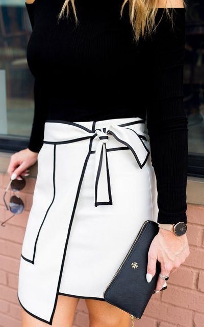 If you're going to do black and white, you may as well keep it saucy and fun! Urban Vogue Flap Skirt in White featured by Whit's Whims Blog @whitswhims