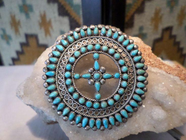 Old Pawn Zuni Sterling Southwest Turquoise Petit Point Pendant Pin | Jewelry & Watches, Ethnic, Regional & Tribal, Southwestern | eBay!
