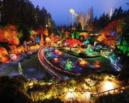 Butchart Gardens at Christmas Time!  Dec 2005--our last vacation before baby Andrew arrived in 2006!