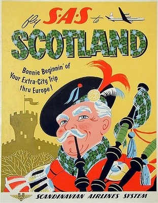 Scotland by SAS Scandinavian Airlines System  vintage c.1955 poster