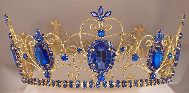 Rhinestone Imperial Celtic Jewelled Mens Gold Blue Crown