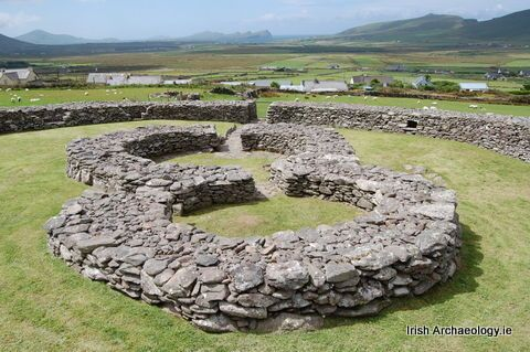 Dingle Peninsula - remains of a figure-of-eight shaped house at Cathair na BhFionnúrach, an ancient stone fort