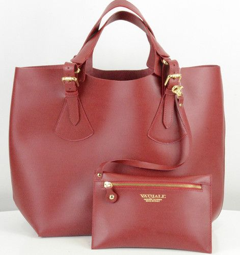 Nwt Varriale Genuine Leather Goods Extra Large Tote W Cosmetic Bag Made In Italy