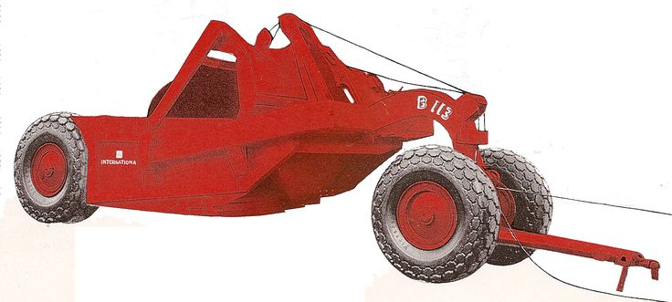 Don't let the International Harvester trademark fool you as this is actually a Bucyrus-Erie scraper. International bought out Bucyrus' earthmoving division in 1953 and a simple paint and re-brand was all it took. Illustrated is a type B-113 14 cubic yard scraper designed for use with tractors such as IH's TD-18.