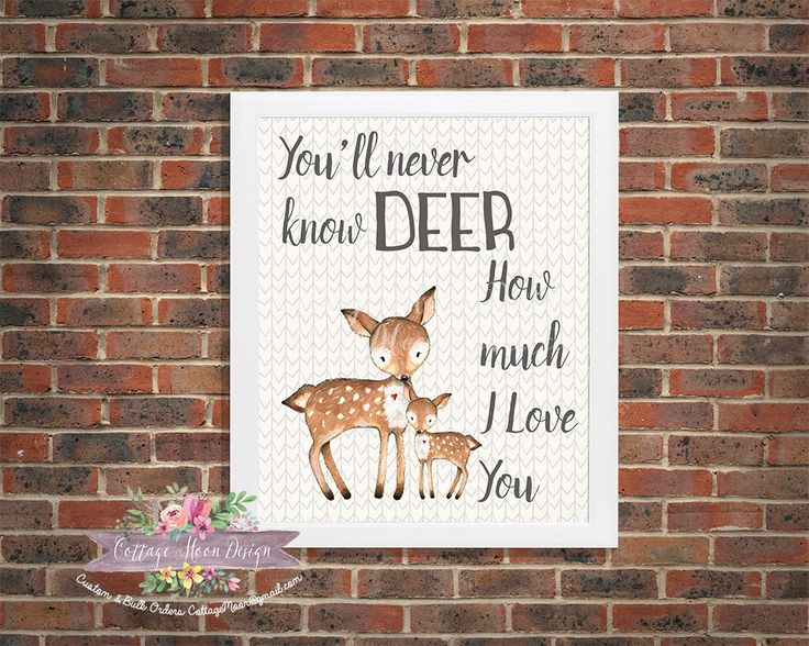 WOODLAND Rustic Nursery Forest Critter Deer Mommy Doe Baby Fawn Animal 8x10…