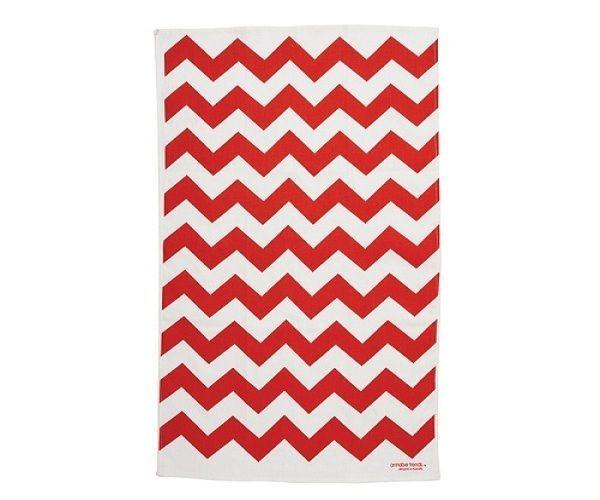 Chevron Red Linen Tea Towel Super Absorbent Annabel Trends New Quality Kitchen