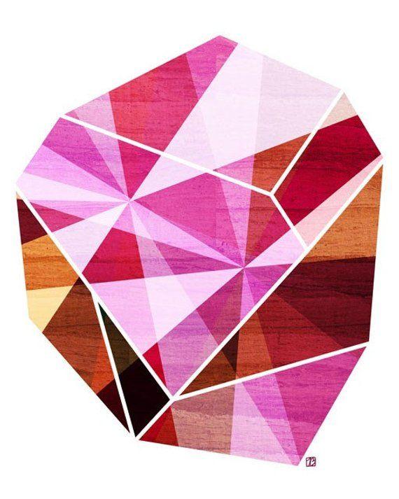 Amethyst Pink Geometric Art Print (Fuchsia Facet Stone, Prism Rock