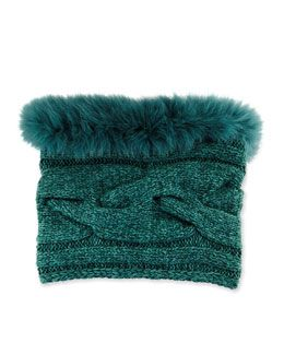 W07FD Loro Piana Cable Knit Fur-Trimmed Collar/Snood