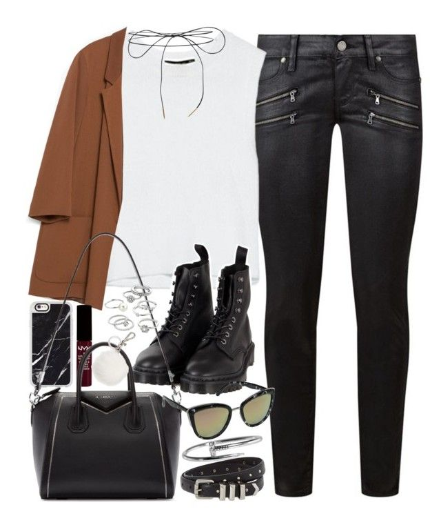 """""""Outfit with a blazer and Dr Martens"""" by ferned ❤ liked on Polyvore featuring Paige Denim, Dr. Martens, Zara, Casetify, Givenchy, Quay, Candie's, The Kooples, Michael Kors and Lilou"""