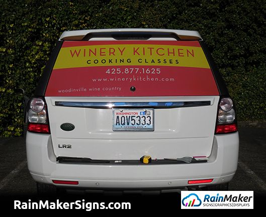 Suv rear window graphic by rainmaker signs woodinville