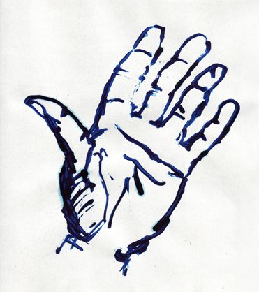 hand, painted with blue Pelikan ink, designkind