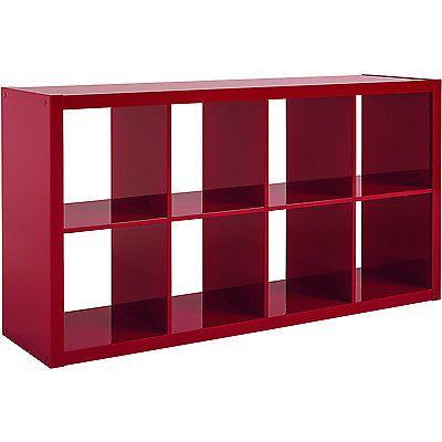 High Gloss Bookcase Wood 8 Cube Bookshelf Storage Unit Home Furniture Red NEW