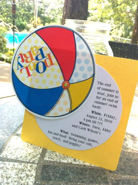A cute free printable pool party invitation by Janna Wilson via LivingLocuto.com