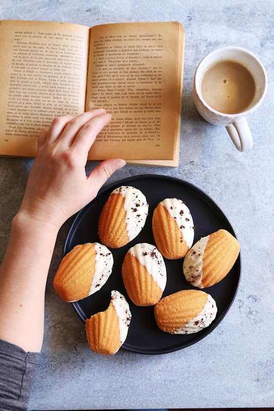 White chocolate dipped orange madeleines with nescafe flavor The madeleines are tender,buttery with a hint of orange and enhanced with subtle nescafe flavor
