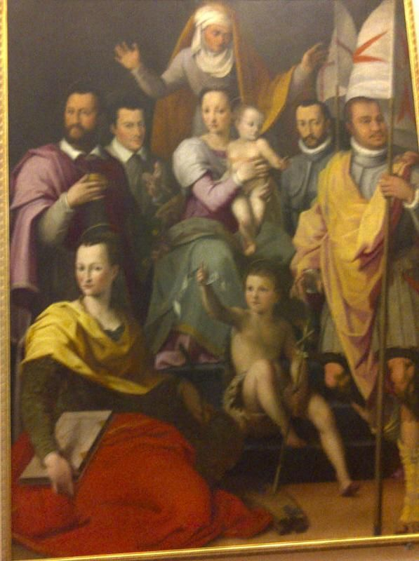Portrait of the the Medici family done in 1575 by Florentine Mannesrest.  Left to right, Grand Duke Cosimo 1st, Giovanni, Ferdinando, Maria de Medici, Francesco, Isabella and her husband Paolo Giordano Orsini.  The Medicis were a political dynasty and banking family and later a Royal House.  Founders of the Medici bank, the largest in Europe in the 15th century.  They produced four Popes, two Queens (of France) and in 1531 became hereditary Dukes of Florence,  ITALY.