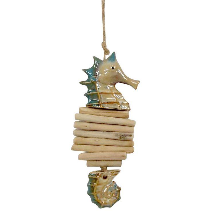 Ceramic Driftwood Seahorse -11.4 in
