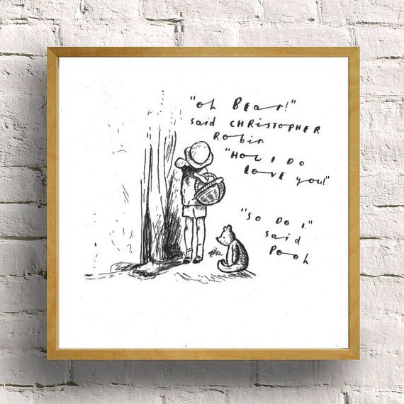pooh bear with christopher robin drawing  by simplekidindustries
