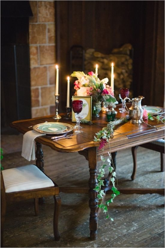 romantic reception dinner table decor #receptionideas #sweethearttables #weddingchicks http://www.weddingchicks.com/2014/04/14/mystic-masterpiece-wedding-inspiration/