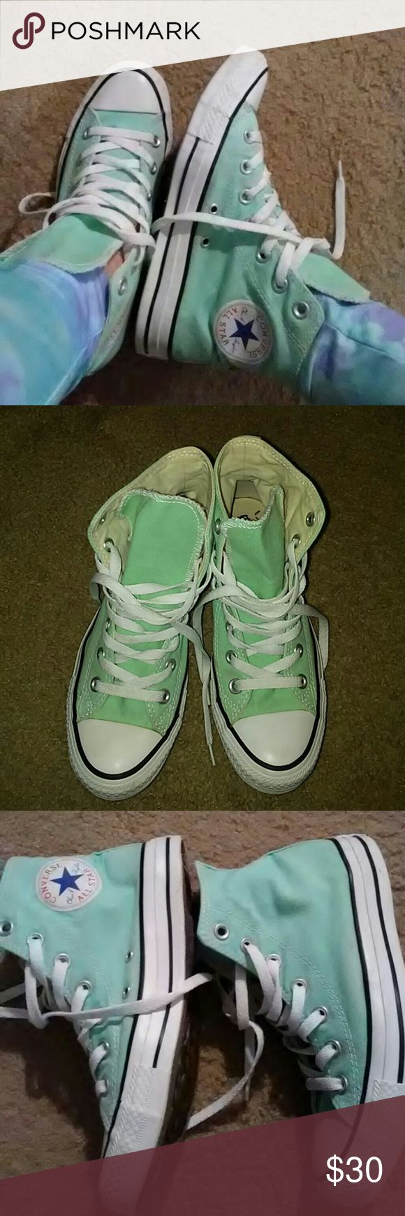 Mint green converse allstars. High tops. Light mint green pastel. So cute. Very few minor flaws. Only worn a few times. Says size 5. Fits a womens 7 Converse Shoes Sneakers