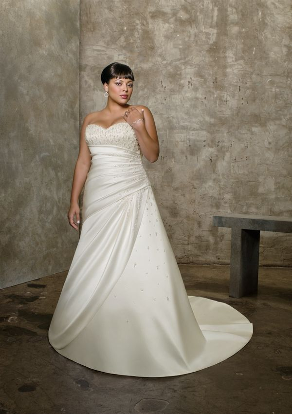 Satin Strapless Sweetheart Neckline With Rouched Bodice In A Line Skirt Pllus Size Lace Up Bridal Gowns