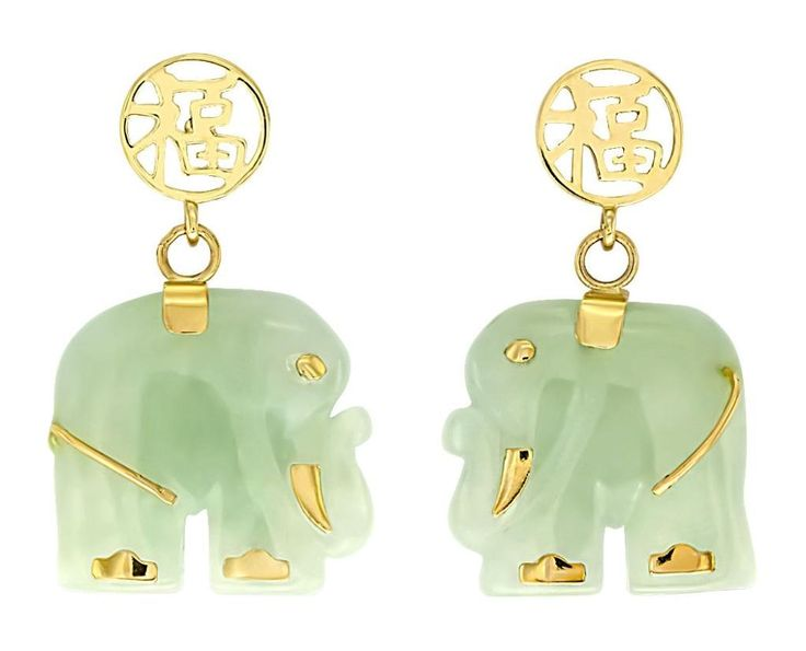 Designer 14K Solid Yellow Gold and Jade Gemstone Elephant Earrings: