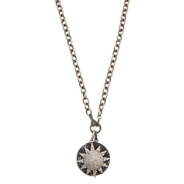 Shop Ela Rae Sun Disc Necklace in Rhodium at Modalist   M0005000294539 ($768) ❤ liked on Polyvore featuring jewelry and necklaces