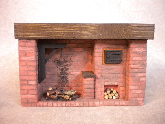 Doll House Colonial Red Brick Fireplace with handmade Oven door