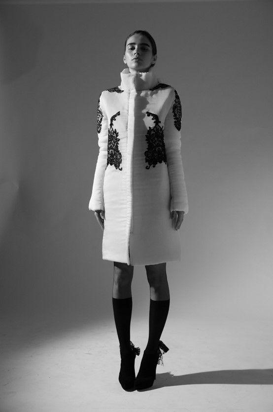 Ingrid Vlasov coat,folklore inspired,black lace applications,black and white photo