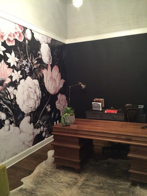 Blossoms - Large Wall Mural, Large Flowers Mural, Dark Floral
