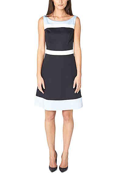 S oliver premium kleid mit variierendem blockstreifenmuster marineblau