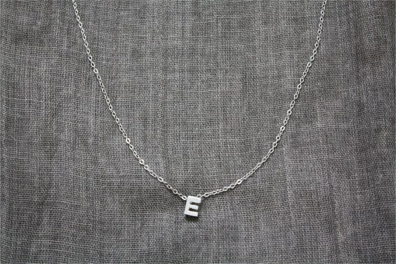 Minimal tiny silver plated letter necklace | Etsy ThatsMineBijoux