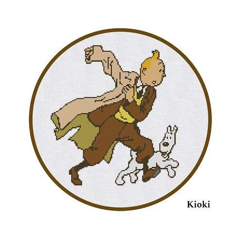 Cross Stitch Pattern Tintin and Snowy Cartoon Comics PDF Chart