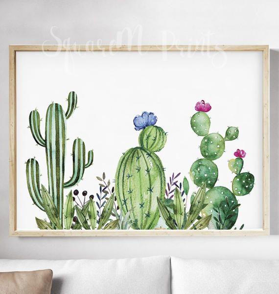 Cactus Watercolor Print Succulent Wall Art Nopales Art Mammillaria Cactus Watercolor Poster Cactus Decor Saguaro Cactus Digital Print
