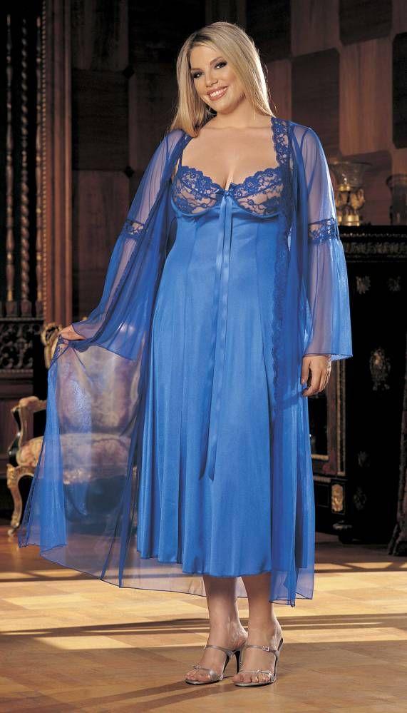 Blue Plus Size Two Piece Long Gown Peignoir Set | BigSmalls™