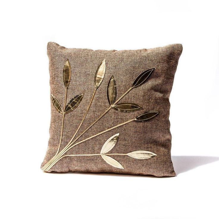 Rustic Brown Golden Leaf Pillow