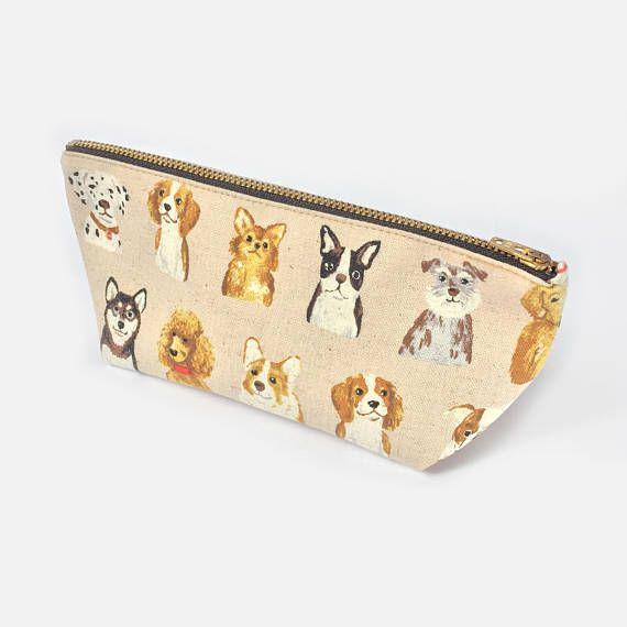 Cute Gift Girl Teen Back to School Green Pencil Pouch Women Small Makeup Bag Dog Lovers Gift Canvas Zipper Pouch Cute Dog Pencil Case