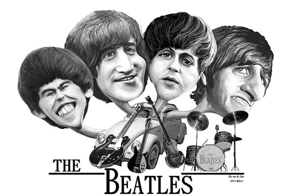 THE BEATLES, BEROEMDE MENSEN, JOHN LENNON,GEORGE HARRISON,PAUL MC.CARTNEY,RINGO STAR, KARIKATUUR, JANVANDELAARWEERT.