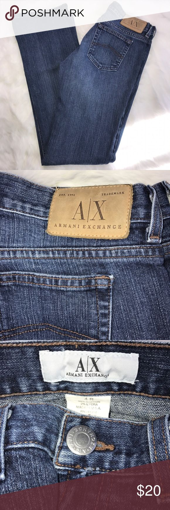 """Armani Exchange Jeans Size 4 Armani Exchange Jeans Size 4 with a 32"""" inseam. Great condition. Boot cut. Ready to wear for the weekend! Armani Exchange Jeans Boot Cut"""