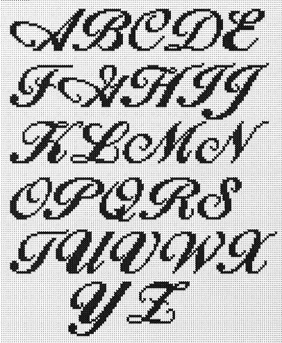 Resultado de imagen para letras cursivas minusculas en punto de cruz