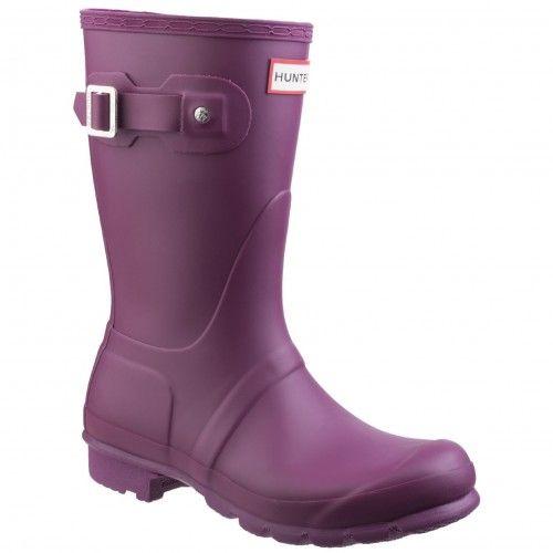 HUNTER WOMENS ORIGINAL SHORT WELLINGTON BOOTS PURPLE. #hunter #shoes #
