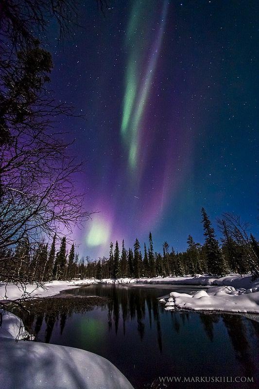 Aurora en Äkäsmylly  Kiili  Ylläs, Laponia, Finlandia