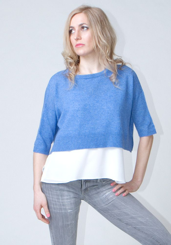 Mesh Cropped T-Shirt #cashmere #boutique #shopping #womenswear #style #fashion #ss2016 #spring #summer #sweater #thecashmereshop #blue