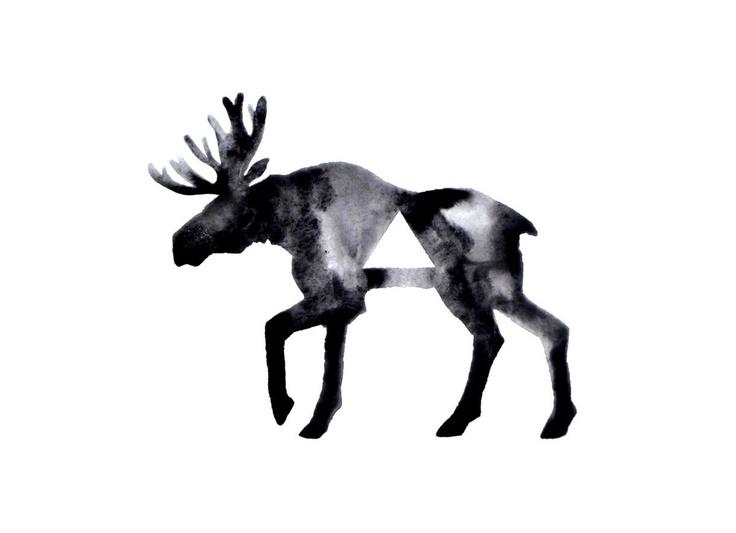 Geometric Moose - Original Watercolor. via Etsy.