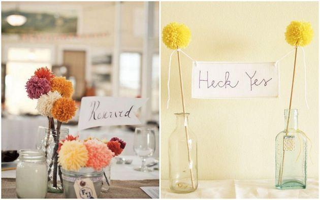 Yarn Pom Pom DIY Tutorials for Weddings