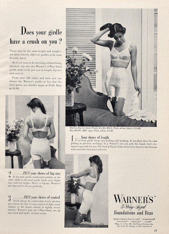 39a9dcaa146 1950 Warner s 3 Way Foundations   Bras Ad - 1950s Bra and Girdle Ad ...