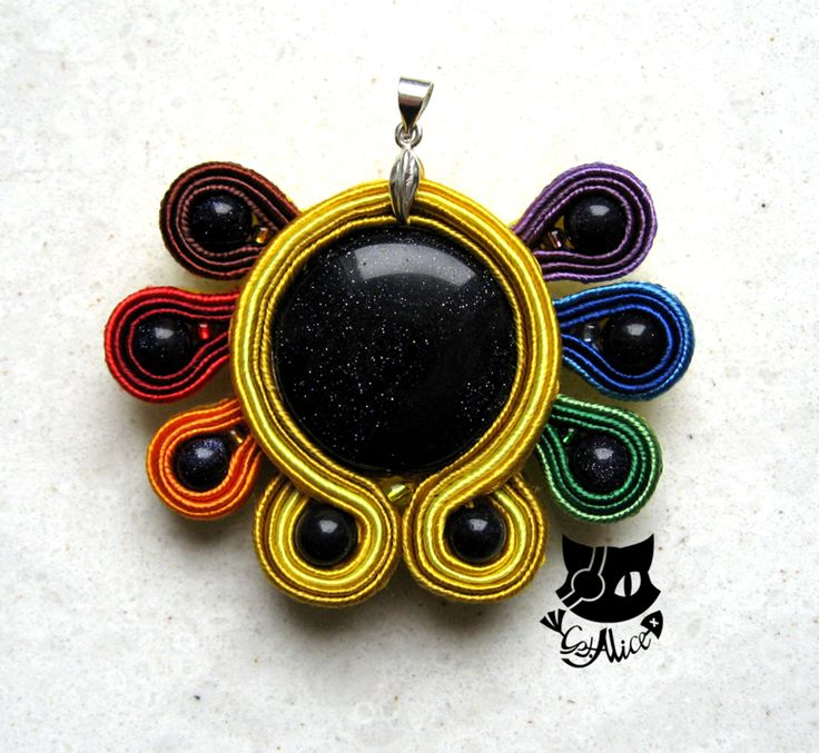 Rainbow sun - soutache pendant by Captain-Alice.deviantart.com on @deviantART